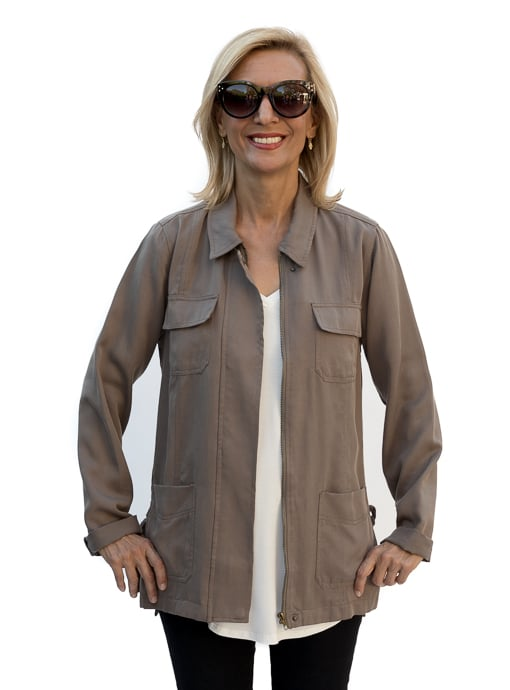 olive cargo jacket zip front with four pockets front