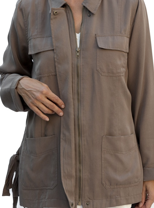 olive cargo jacket zip front with four pockets