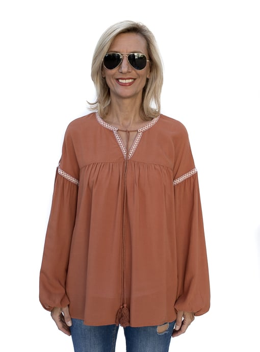 Rust Peasant Blouse For Fall