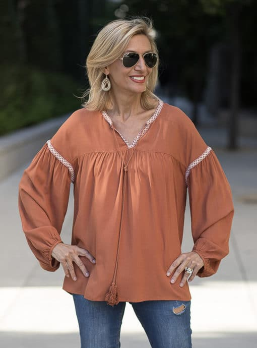 Rust Peasant Blouse with novelty stitching
