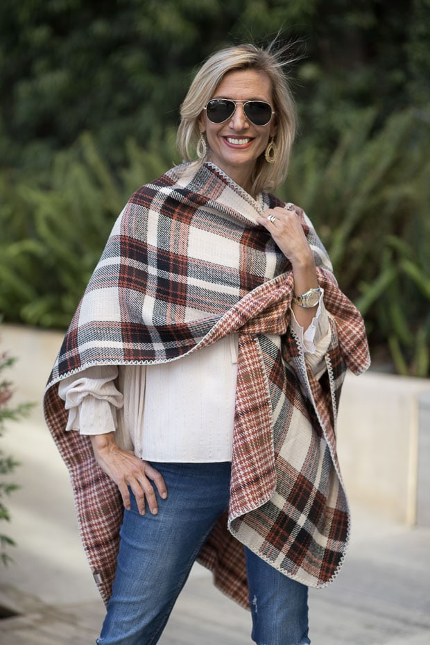 Reversible Tan Brown Rust Plaid Poncho with Rust Peasant Blouse