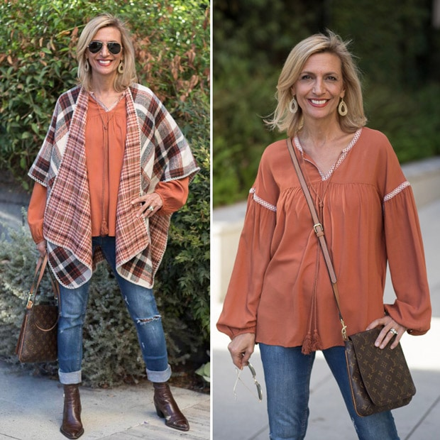 Fall Poncho with Tan Rust and Brown colors for fall