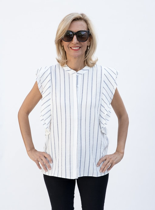 Stripe Sleevless Shirt Blouse With Double Ruffle Detail front