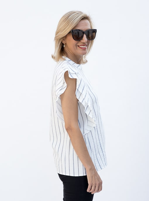 Stripe Sleevless Shirt Blouse With Double Ruffle Detail left side