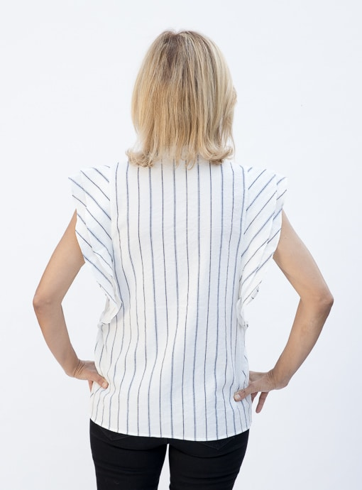 Stripe Sleevless Shirt Blouse With Double Ruffle Detail back