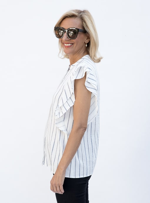 Stripe Sleevless Shirt Blouse With Double Ruffle Detail