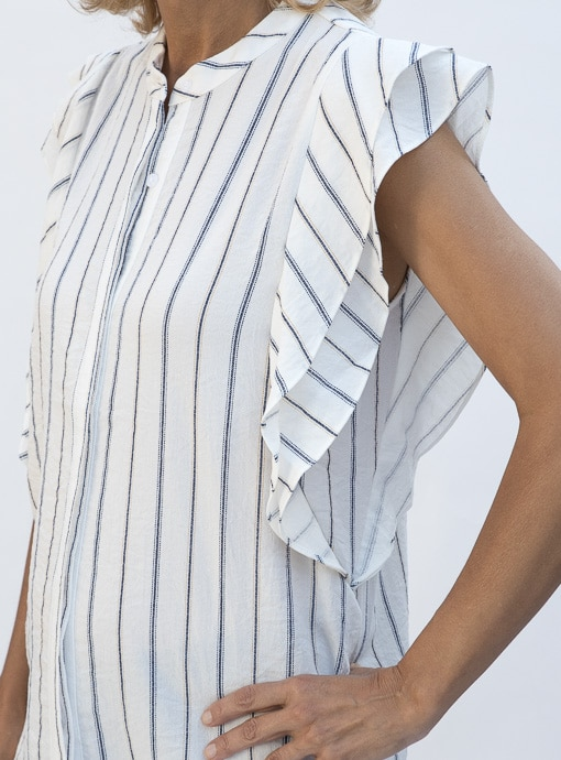 Stripe Sleevless Shirt Blouse With Double Ruffle Detail close up