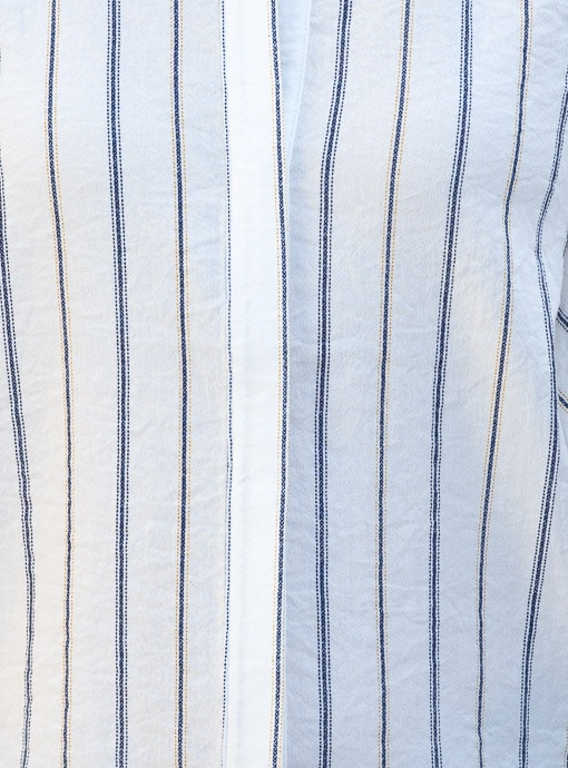 Stripe Sleevless Shirt Blouse With Double Ruffle Detail of fabric