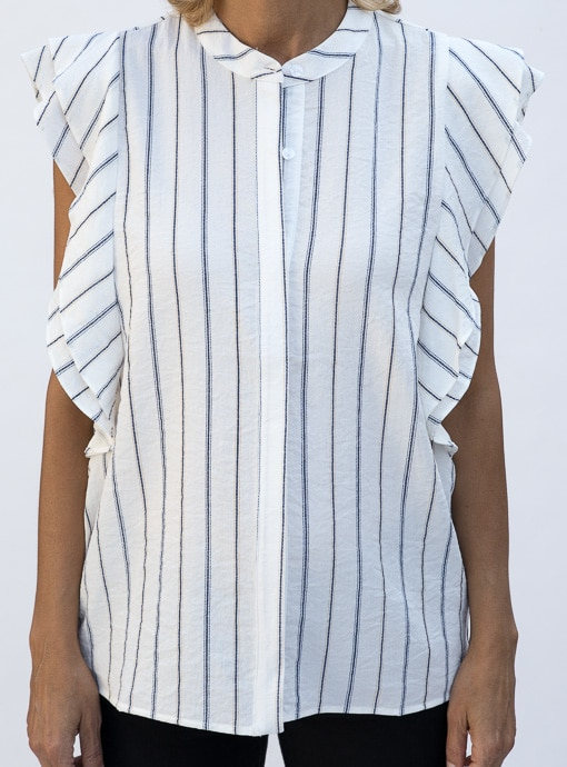 Stripe Sleevless Shirt Blouse With Double Ruffle Detail front placket