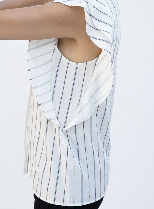 Stripe Sleevless Shirt Blouse With Double Ruffle Detail under arms