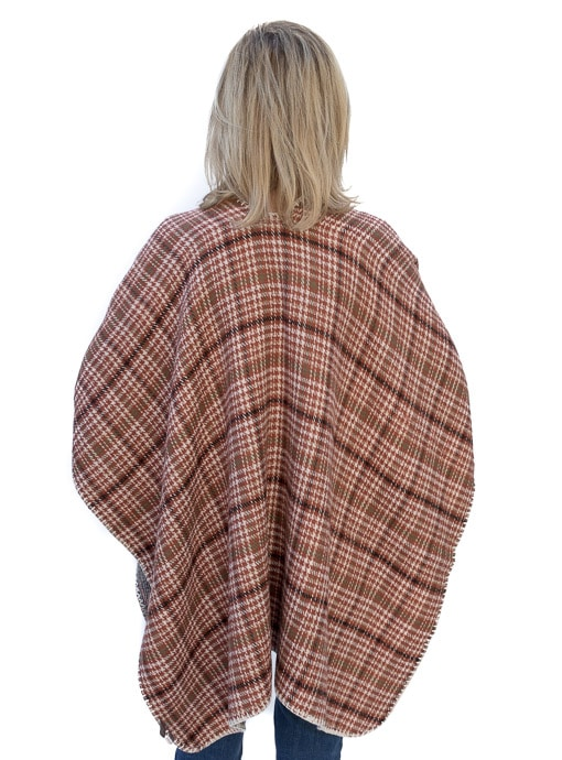 Tan Brown And Rust Reversible Plaid Poncho