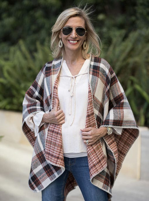 reversible palid poncho rust brown and tan