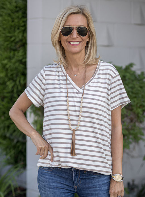 Coco Ivory Stripe V Neck T shirt