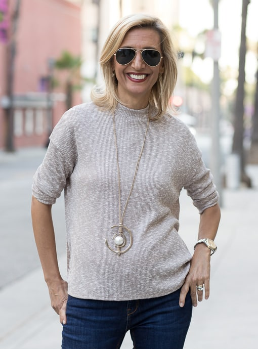 mock turtle neck top taupe and ivory slub knit