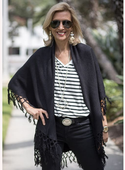 Black Cape Vest With Fringe For Women
