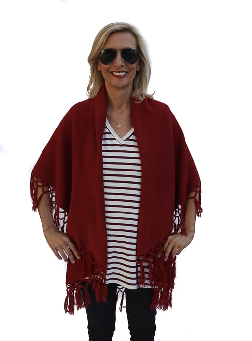 Burgandy Cape Vest with fringe for women