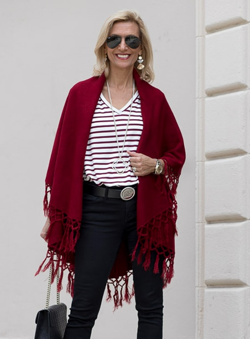 Womens Burgandy Cape Vest With Fringe