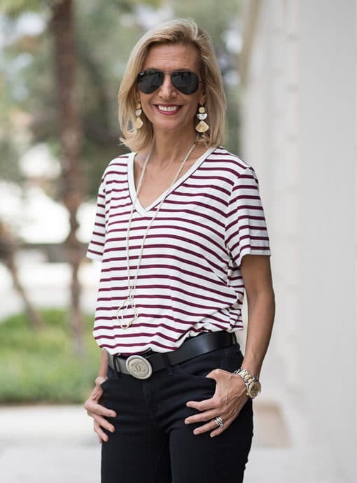 Burgandy and Ivory Stripe V Neck T Shirt for women