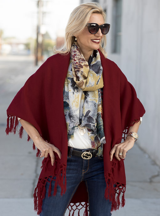 Burgundy Cape Vest With Fringe