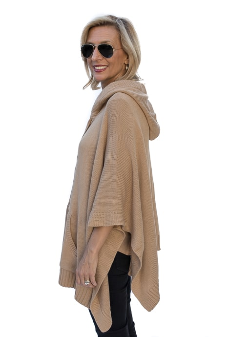 Camel Knit Poncho for women