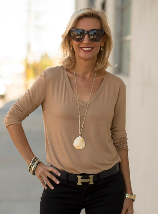 camel v neck long sleeve blouse top