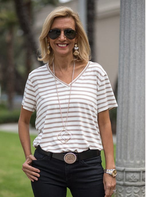 V nect T Shirt with Tan and Ivory Stripe for women