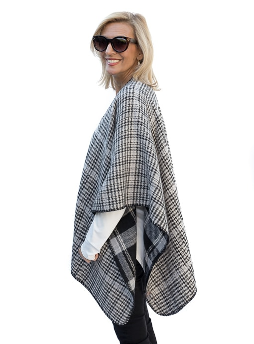 Fall Poncho For Women In Gray Ivory and Black reversible