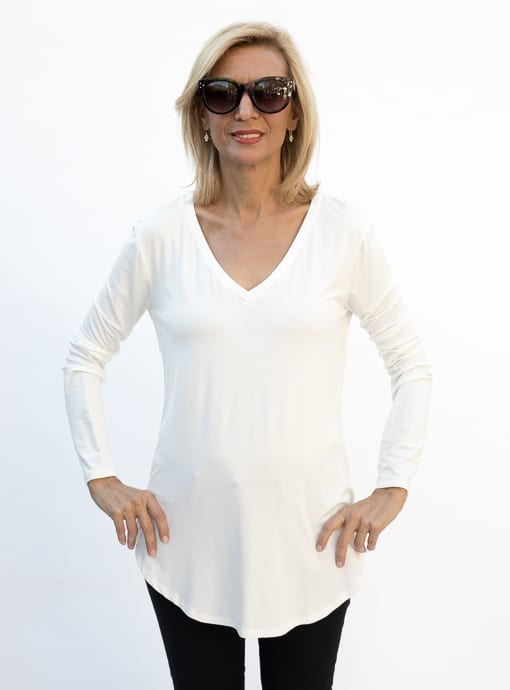 Ivory Long Sleeve modal jersey top for women