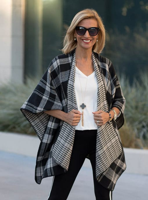womens reversible poncho in gray black and ivory plaid