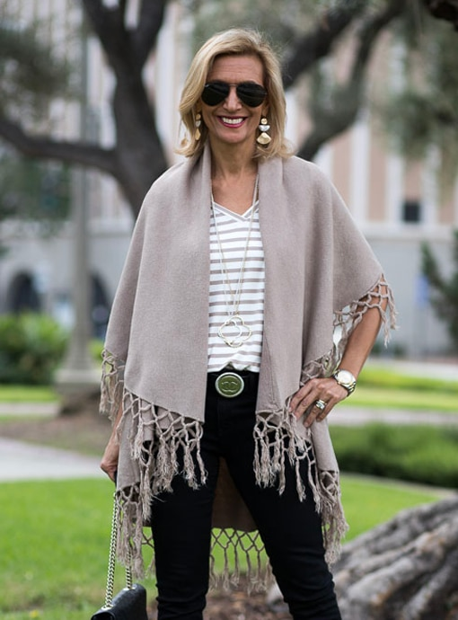 Womens Tan Coco Cape Vest With Fringe