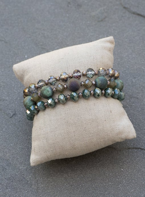 Set of Three Blue Green Iridescent Bead Bracelets