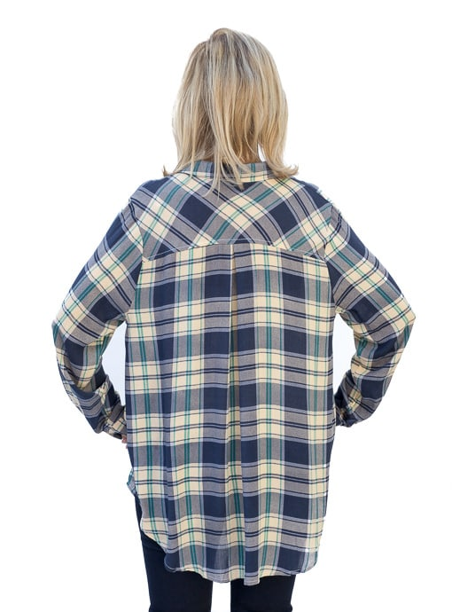 Blue Plaid Shirt With Roll Up Sleeves
