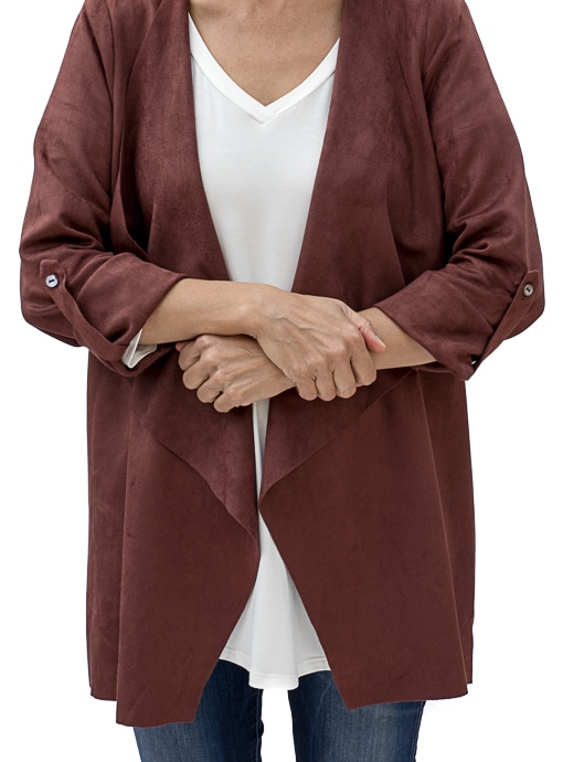 Bordeaux Faux Suede Cascading Collar Jacket