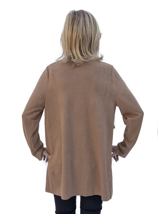 Womens Camel Faux suede cascading collar jacket