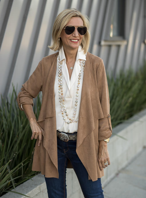 Camel Faux Suede Cascading Collar Jacket