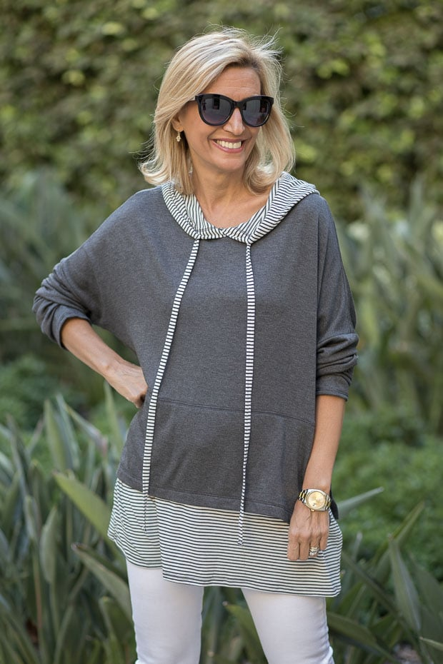 Stripe and Solid casual twofer hooded top for women