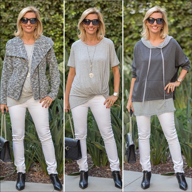 casual yet chic gray and white moto jacket style with a heather gray twist top and a twofer hooded top