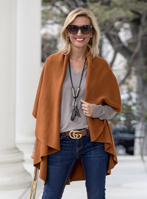 cape vest in cinnamon color