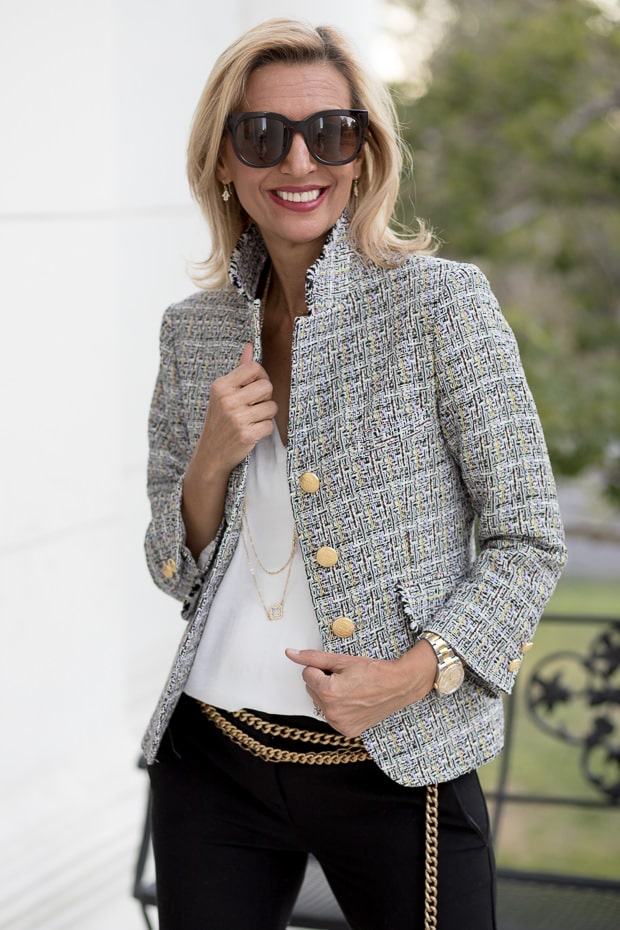 Womens Classic Boucle Jacket Blazer made from Italian Fabric and Trim Made In USA