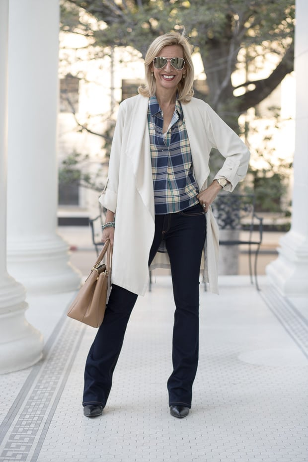 Fall Fashion Cool Blue Shades mixed with plaid and ivory