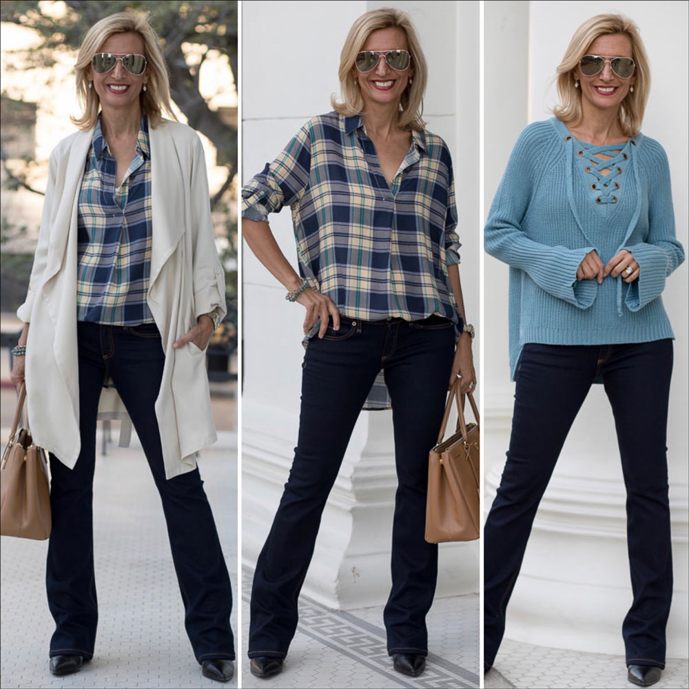Cool Shades Of Blue For Fall with Plaid and Ivory