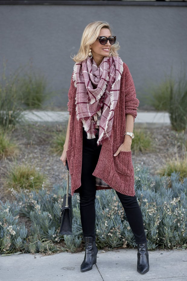 Trend Alert Chenille Long Cardigan And Plaid Shirt For Fall