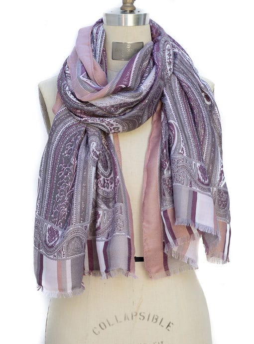 womens scarf shawl in a pink gray and ivory paisley