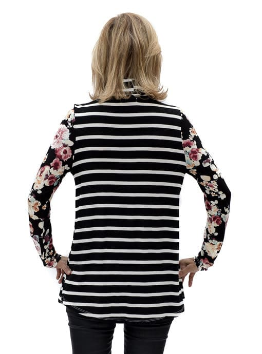 Womens Cowl Neck Stripe Floral Top in Black Ivory and Burgandy