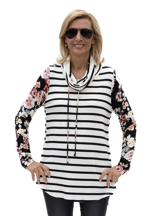 Ivory with black and burgandy long sleeve cowl neck top with floral pattern