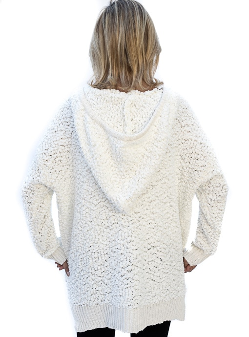 Womens Ivory Textured Knit Sweater With Hood