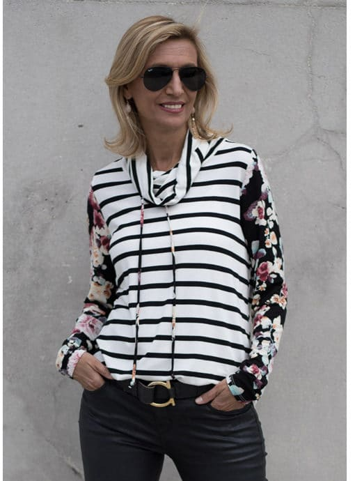ivory black and burgandy cowl neck top for women