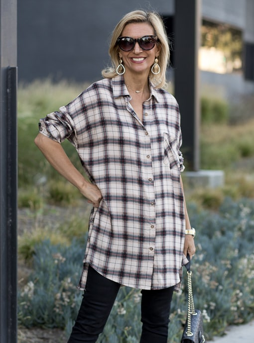 long plaid shirt for women