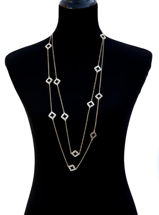 Matt Gold And Silver Tone Clover Necklace Set