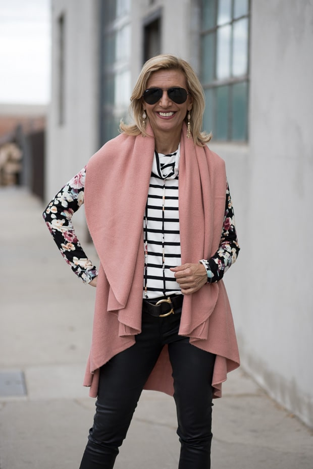 Womens Cape Vest in a rose color worn with a ivory Burgandy and black Cowl Neck stripe floral top